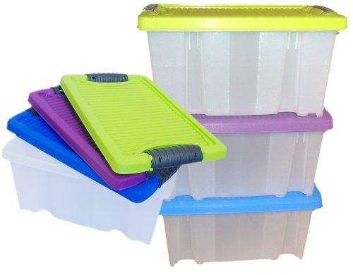stapelboxen f r kleinteile 3 x 9 liter mit deckel. Black Bedroom Furniture Sets. Home Design Ideas