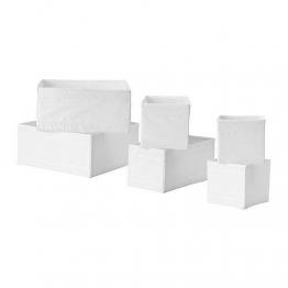 "IKEA 6-er Set Aufbewahrungsboxen ""Skubb"" sechs Kisten Regaleinsätze je 2 Stück in 3 versch. Größen - WEISS - 1"
