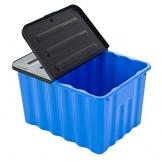 Kunststoffbox mit abnehmbarem und klappbarem Deckel - 70 Liter Volumen - geschwungene Form! XXL Stauraum in tollem Azurblau mit grauem Deckel und leicht glänzender Ausführung! - 1