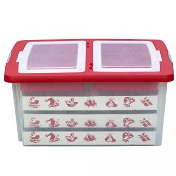 Aufbewahrungsbox für Christbaumschmuck - bis zu 72 Kugeln und Zubehör - 1 Box mit 51 Liter + 1 Deckel mit Einlegern - 2
