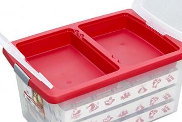 Aufbewahrungsbox für Christbaumschmuck - bis zu 72 Kugeln und Zubehör - 1 Box mit 51 Liter + 1 Deckel mit Einlegern - 3