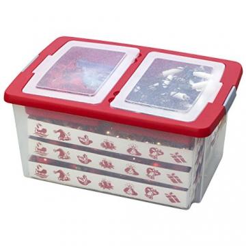 Aufbewahrungsbox für Christbaumschmuck - bis zu 72 Kugeln und Zubehör - 1 Box mit 51 Liter + 1 Deckel mit Einlegern - 4