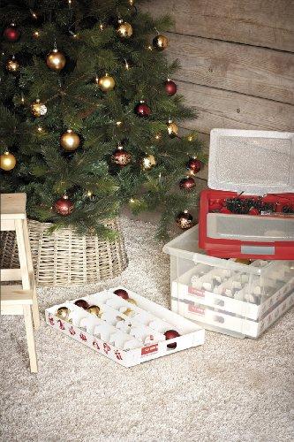 Aufbewahrungsbox für Christbaumschmuck - bis zu 72 Kugeln und Zubehör - 1 Box mit 51 Liter + 1 Deckel mit Einlegern - 6