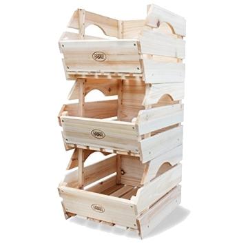 Holzkisten für die die Aufbewahrung von Obst & Gemüse