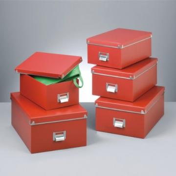 Zeller 17952 Boxen-Set, 5-teilig, Pappe (40 x 29 x 17; 38 x 27.3 x 15.5; 35.5 x 24.5 x 14.5; 33.5 x 22.5 x 13.5; 30.5 x 19.7 x 12.5), rot - 2