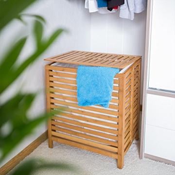 Relaxdays 10018978 Wäschetruhe 100 L, 60 x 50,5 x 35,5 cm, Bambus, natur - 2