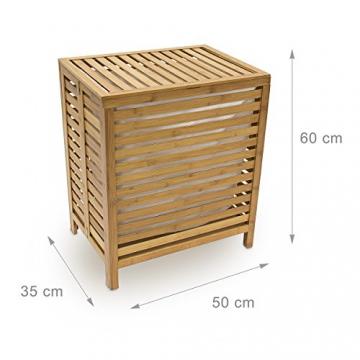 Relaxdays 10018978 Wäschetruhe 100 L, 60 x 50,5 x 35,5 cm, Bambus, natur - 3