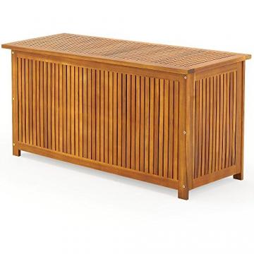 Auflagenbox mit Innenplane Holztruhe Akazienholz 117cm Kissenbox Gartenbox Gartentruhe Auflagen Truhe - 2