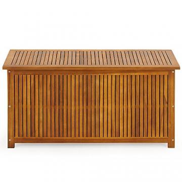 Auflagenbox mit Innenplane Holztruhe Akazienholz 117cm Kissenbox Gartenbox Gartentruhe Auflagen Truhe - 3