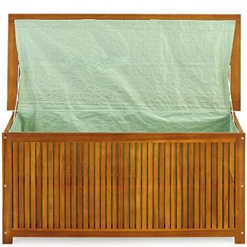 Auflagenbox mit Innenplane Holztruhe Akazienholz 117cm Kissenbox Gartenbox Gartentruhe Auflagen Truhe - 4