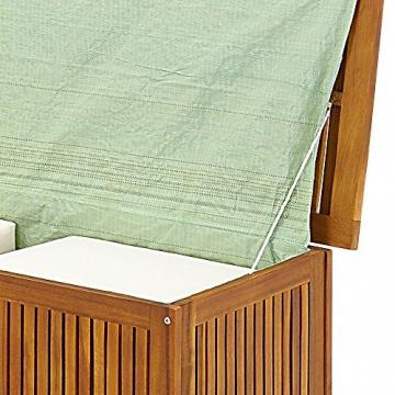 Auflagenbox mit Innenplane Holztruhe Akazienholz 117cm Kissenbox Gartenbox Gartentruhe Auflagen Truhe - 5