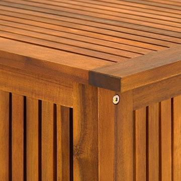 Auflagenbox mit Innenplane Holztruhe Akazienholz 117cm Kissenbox Gartenbox Gartentruhe Auflagen Truhe - 6