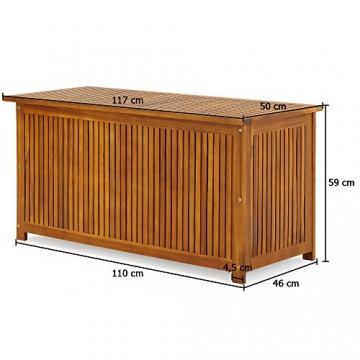 Auflagenbox mit Innenplane Holztruhe Akazienholz 117cm Kissenbox Gartenbox Gartentruhe Auflagen Truhe - 7