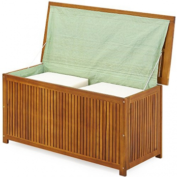 Auflagenbox mit Innenplane Holztruhe Akazienholz 117cm Kissenbox Gartenbox Gartentruhe Auflagen Truhe - 8