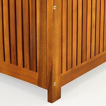 Auflagenbox mit Innenplane Holztruhe Akazienholz 117cm Kissenbox Gartenbox Gartentruhe Auflagen Truhe - 9