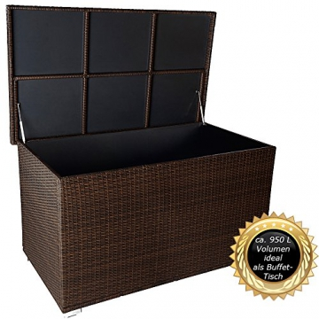 auflagenbox 950 liter wasserdicht rattanoptik. Black Bedroom Furniture Sets. Home Design Ideas